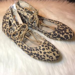 NWT Girls leopard slip on ballet tie shoes